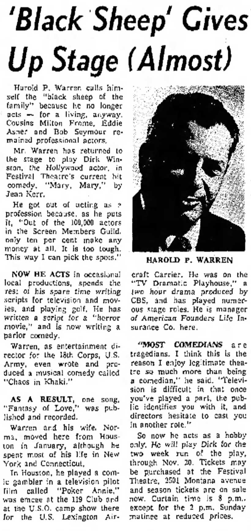 Harold P. Warren - 'Black Sheep' Gives Up Stage (Almost)